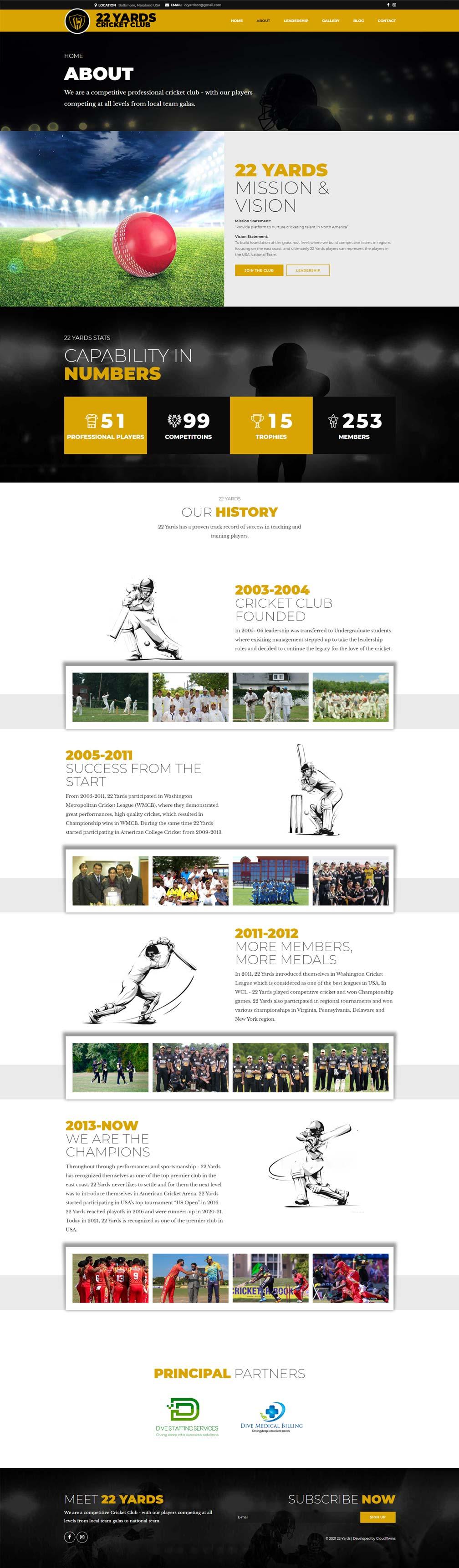 cricket club website design