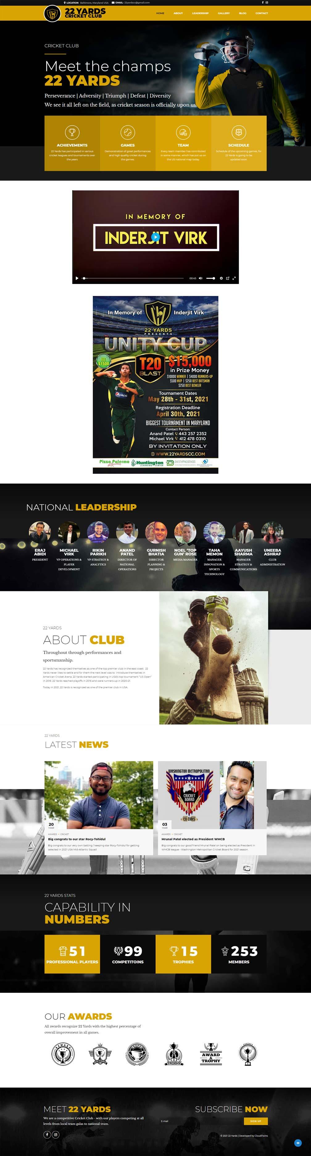 cricket league website design