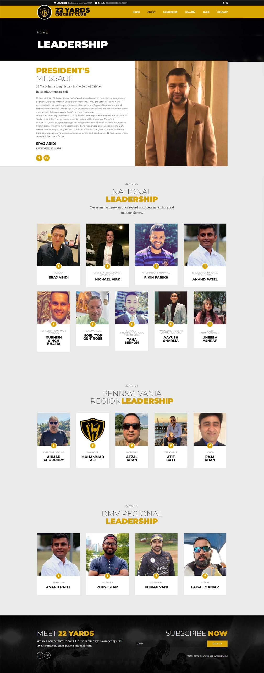 cricket club website designing