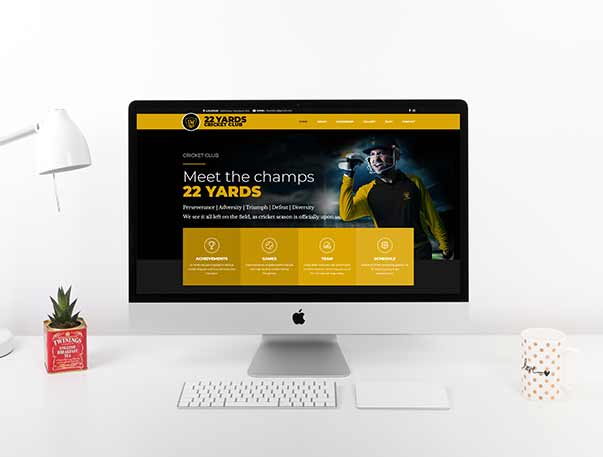 22 Yards Cricket Club website design and development