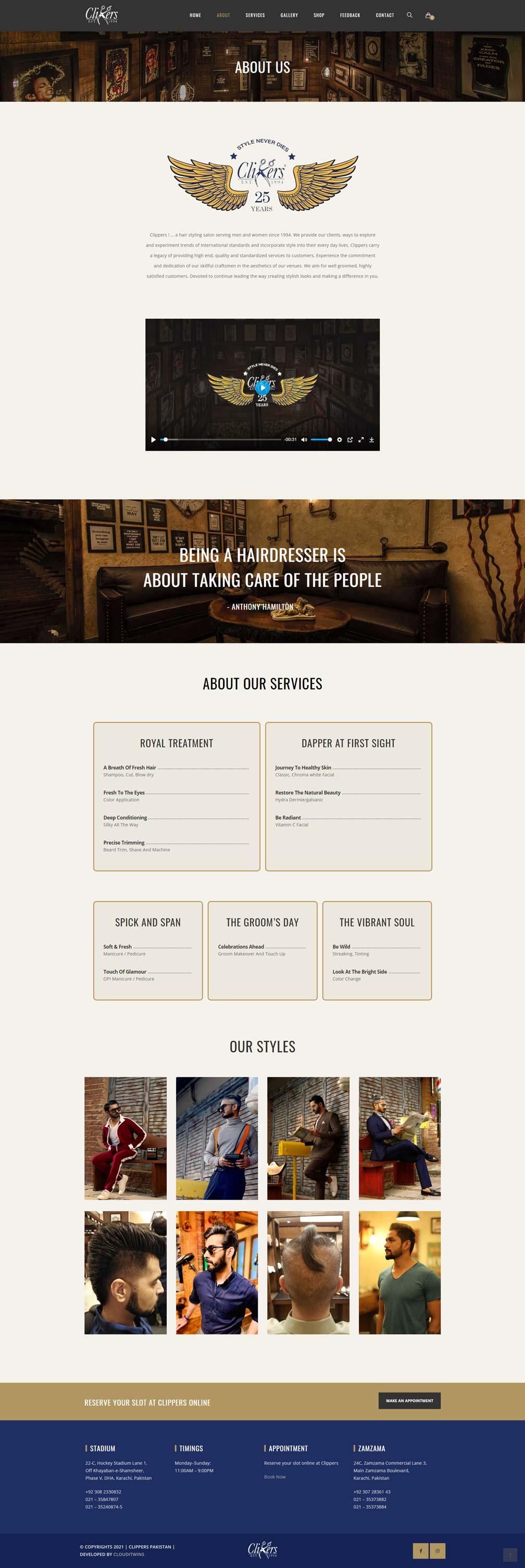 Clippers salon website design
