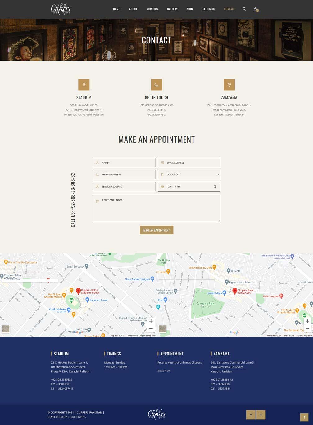Clippers salon store website development