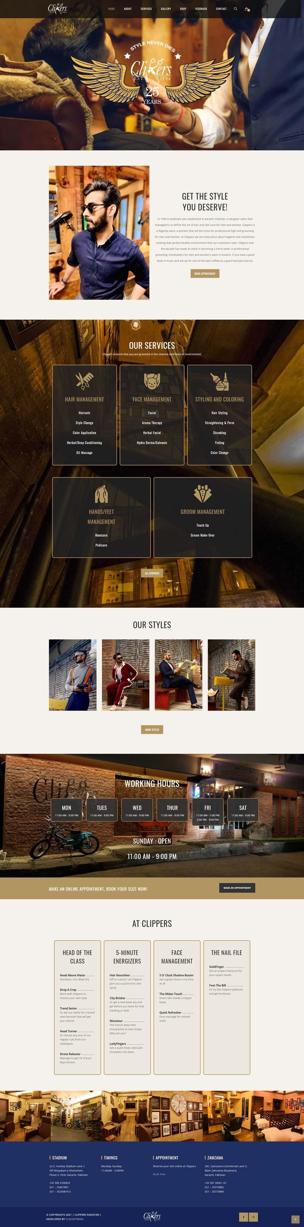 Men salon website design